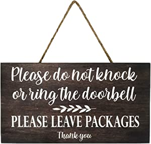 Please Do Not Ring Doorbell Sign - Rustic Solid Wood Hanging Plaque with Rope, Polite Message - Dark Wood, Protective Coating for Outdoor Use - Entry, Porch, Door Hanger - 6x11 Inch