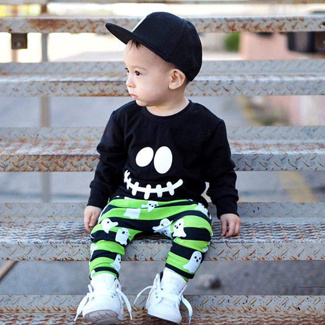 Conjuntos de Bebé Niños, ❤ Modaworld Bebé Niños niñas Cartoon Ghost Tops Camiseta Pullover Camisas y Pantalones Conjunto de Trajes de Halloween 6 Mes - 4 ...