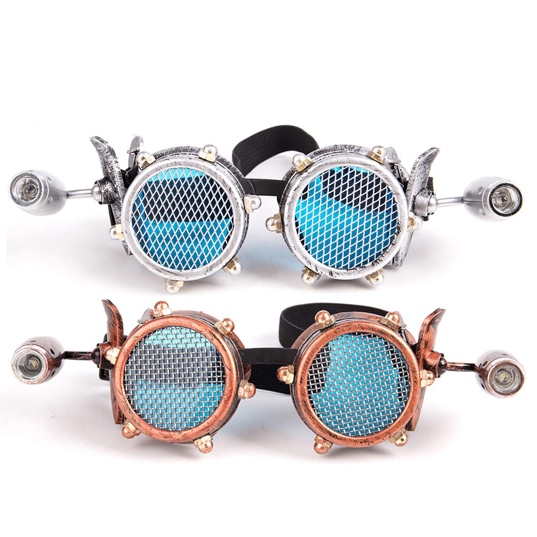 Festivals Glasses Vintage Party Sunglasses Steampunk Goggles with LED Flashlight