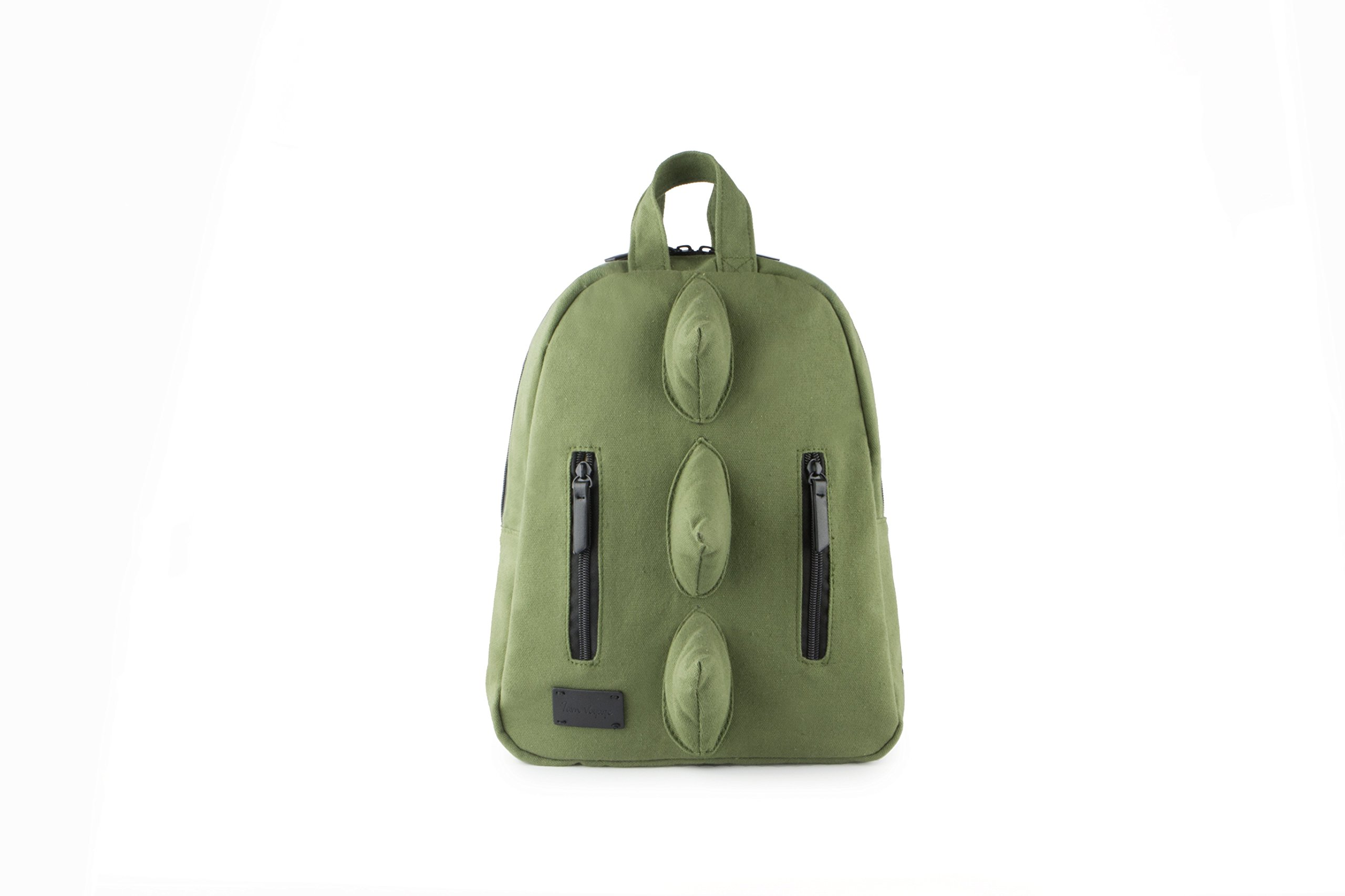 7AM Voyage Mini Dino Cotton Backpack, Unisex Toddlers, Kids and Teens School Backpack, (Army)
