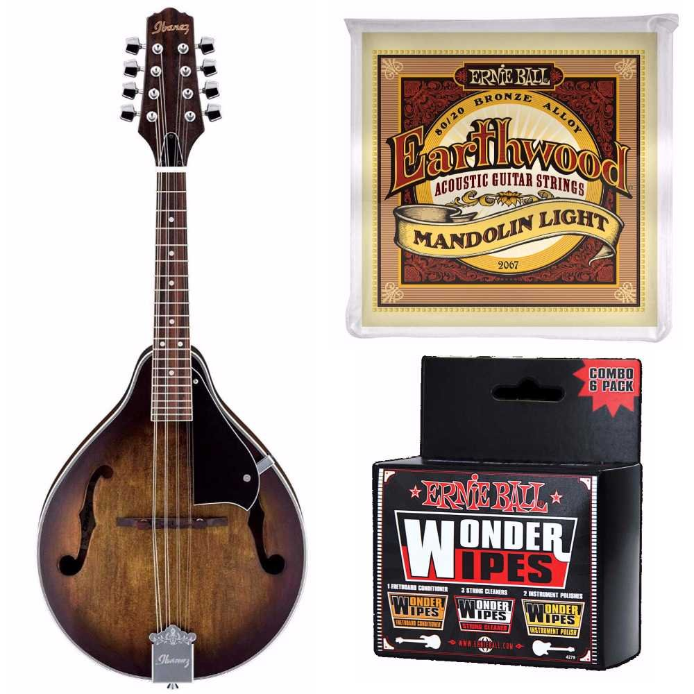 Ibanez M510OVS Acoustic Mandolin in Vintage Sunburst Plus Extra Strings and Wonder Wipes Polish (Sunburst)