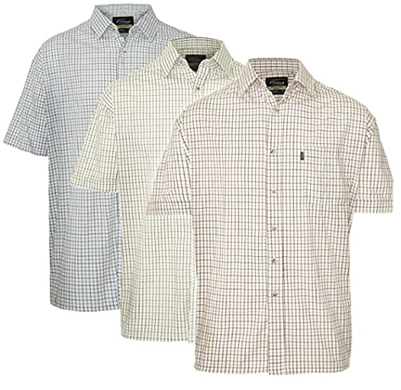 9184a1ce Champion Mens Tattersall Country Casual Short Sleeve Shirt (Pack of 3):  Amazon.co.uk: Clothing