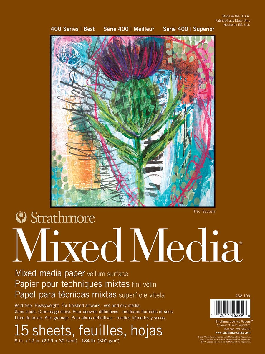 Strathmore 462-109 400 Series Mixed Media Pad, 9''x12'' Glue Bound, 15 Sheets