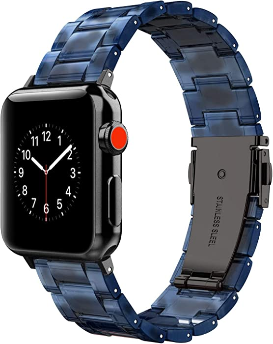Wearlizer Black Blue Compatible with Apple Watch Bands 42mm 44mm Mens Lightweight Resin Cool Straps Replacement Wristband Womens Bracelet (Metal Steel Clasp) for iWatch Series 5 4 3 2 1 Sport