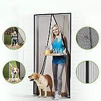 Puerta de pantalla magnética Cheelom con sello magnético de cierre automático súper hermético y malla de poliéster duradera, cinta de montaje de marco completo, para puertas de 90 cm x 210 cm, cortina con imán negro y cortina para mosquitos