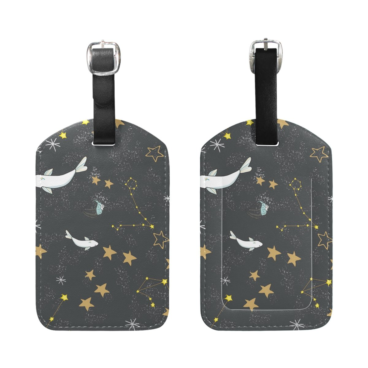 Saobao Travel Luggage Tag Yellow Stars And Fishes PU Leather Baggage Travel ID
