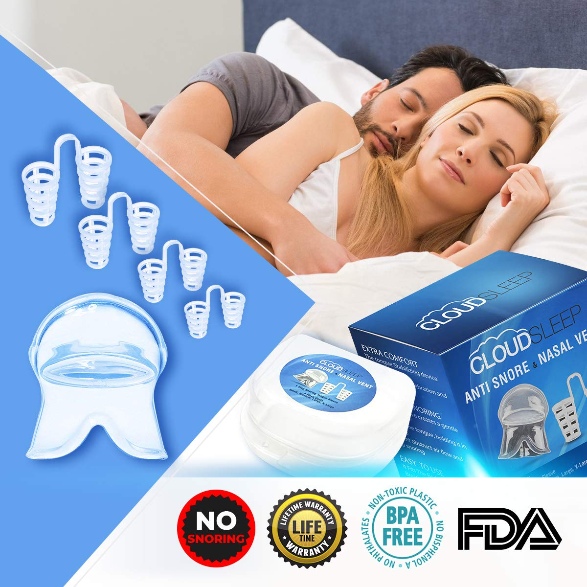 CLOUDSLEEP Anti Snoring Nose Vents Kit: 4 Pairs of Nasal Dilators in 4 Sizes + Anti Snore Mouth Guard Bundle| Easy to Use Silicone Snore Stopper Kit| Stop Snoring Solution Snoring Tongue Retainer by CLOUDSLEEP (Image #1)