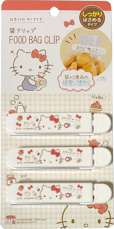 Sanrio Hello Kitty Plastic Sealing Clips Food Snack Bag 9.3cm 3pcs set Kitchen (Short)