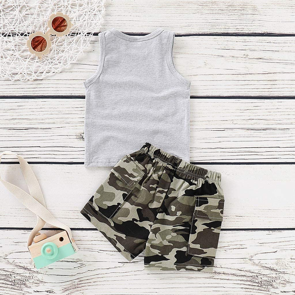 Fabal Infant Baby Boy Kid Letter Camouflage Printed Tops T Shirt+Shorts Outfits Set