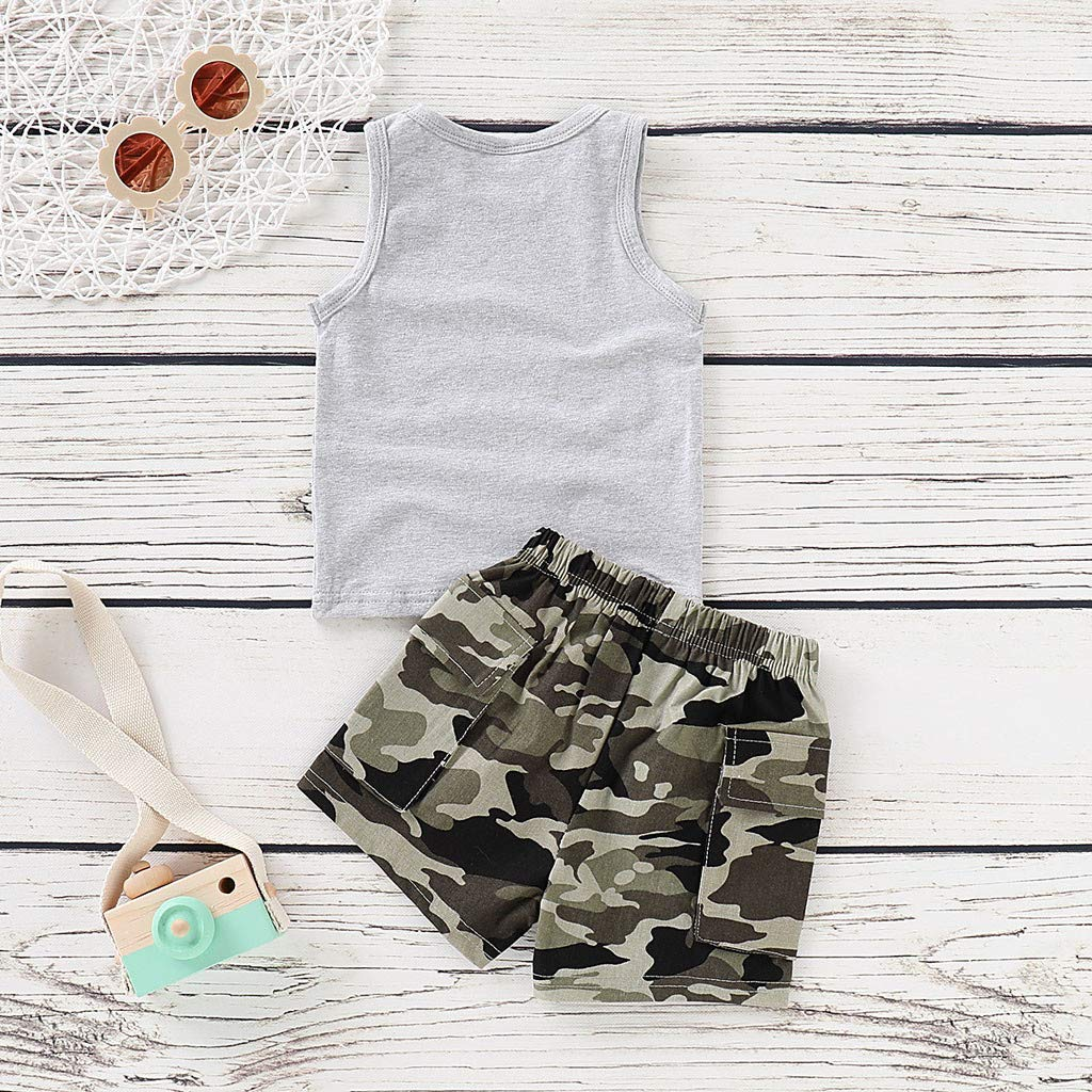 Willsa Baby Boy Outfits Infant Kid Letter Printed Vest Tops+Camouflage Shorts Outfits Set