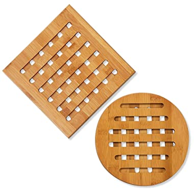 Bamboo Trivet - 2-Pack Wood Trivet, Hot Pads Plate, Heat Resistant Coaster for Hot Dishes, Pots, Pans, Protection for Dining Table, Tabletop, Kitchen, Counters, Square Round, 7.5 x 7.5 x 2.8 Inch
