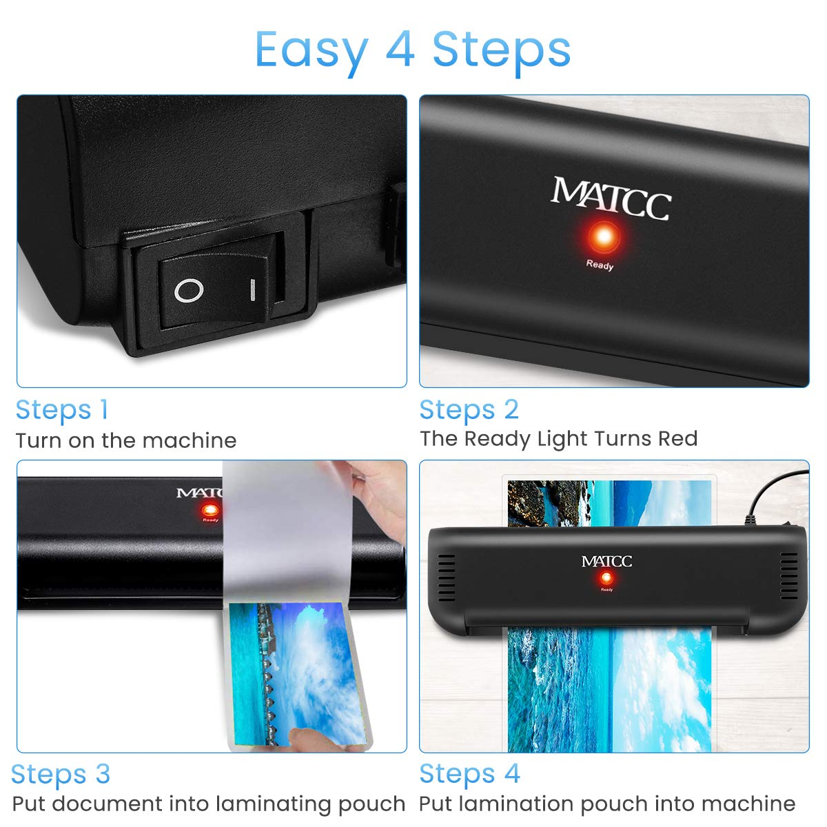 MATCC Thermal Laminator, 1 in 3 A4 Laminating Machine with 2 Roller System Fast Warm-up 9'' Laminator Machine, Paper Trimmer/Corner Rounder Suit for Home Art Office etc by MATCC (Image #6)