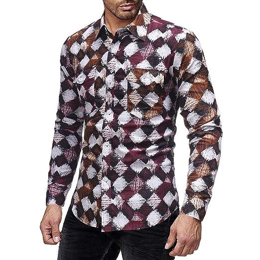 ♚Camisa a Cuadros de los Hombres, Jersey de Manga Larga con Cuello en V de la Blusa de Invierno de impresión Casual Absolute: Amazon.es: Ropa y accesorios