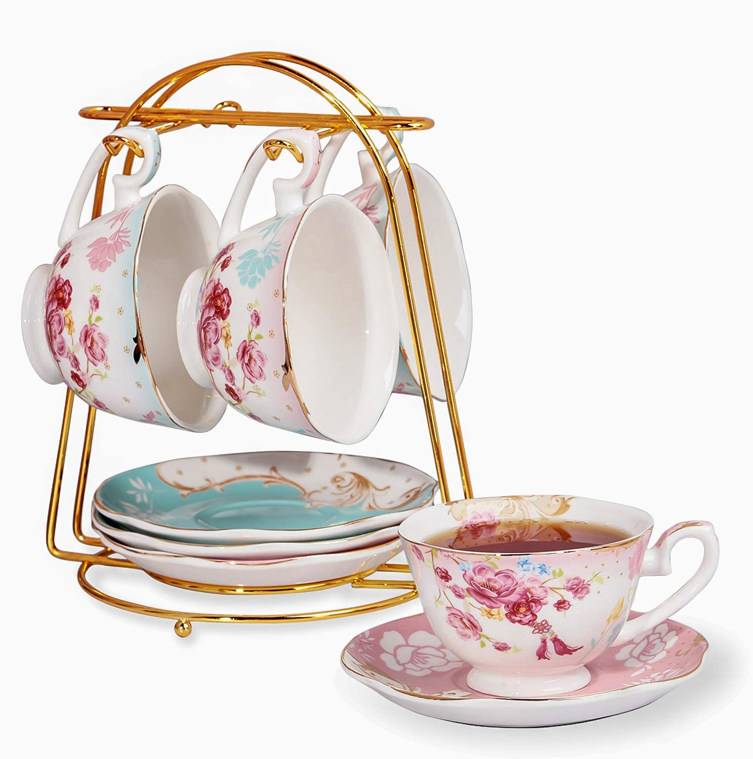 Emma's Espresso Cups with Saucers Set with Cup Holder 6 oz,Cups& Saucer Service for 4,Porcelain Teacup for Tea Party,Tea Gift Sets,Cup Set