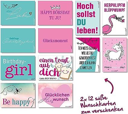 24 Wunsch Postkarten Mit Sprüchen I Dv203 I Din A6 I Spruch Karten Set Lustig Witzig Zitate Liebe Freundschaft Motivation Für Bilderrahmen Beste