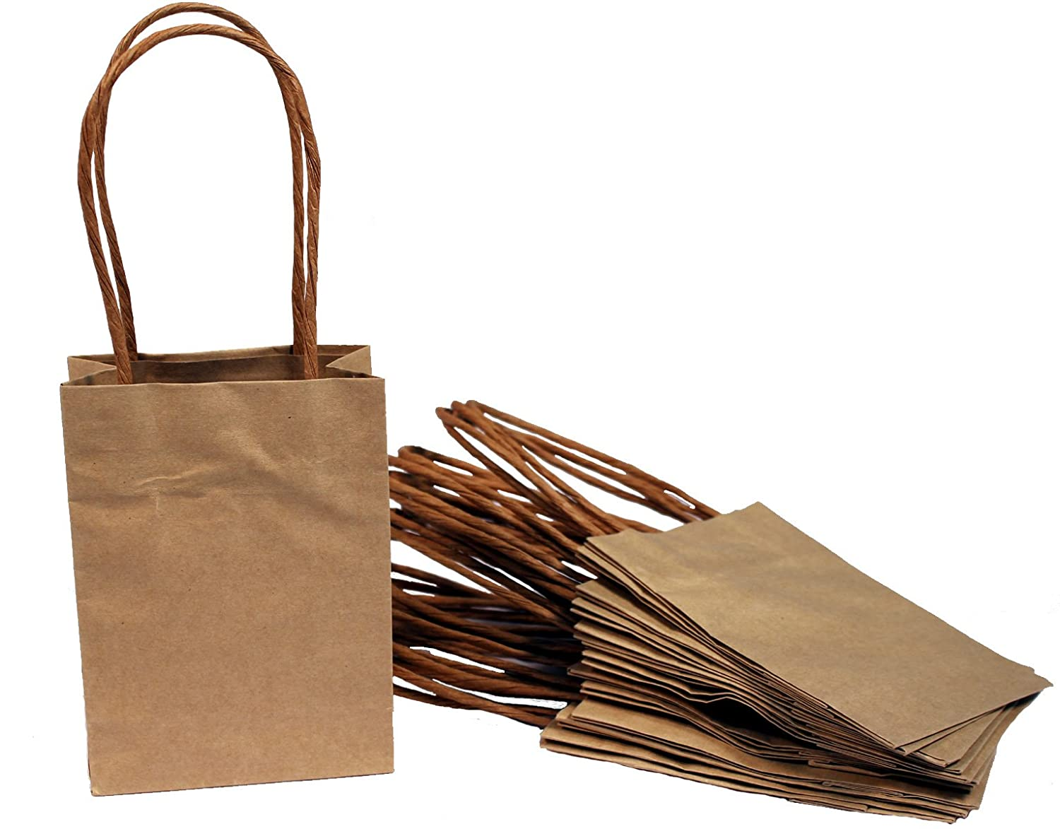 Amazon.com: Creative Hobbies Small Kraft Paper Gift Handle Bags ...