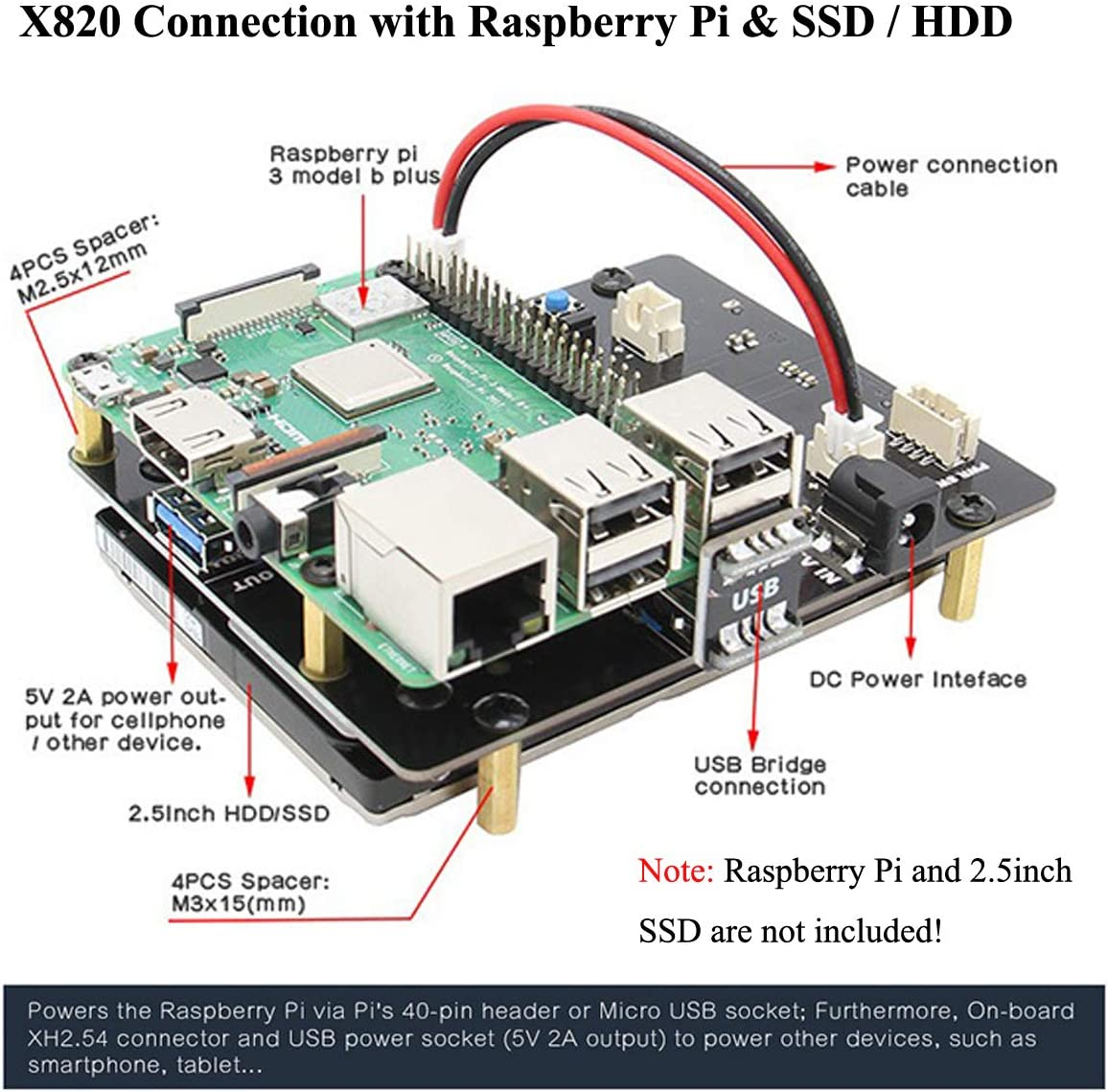 MakerHawk Raspberry Pi X820 Upgrade V3.0 2.5 Pulgadas SATA HDD/SSD ...