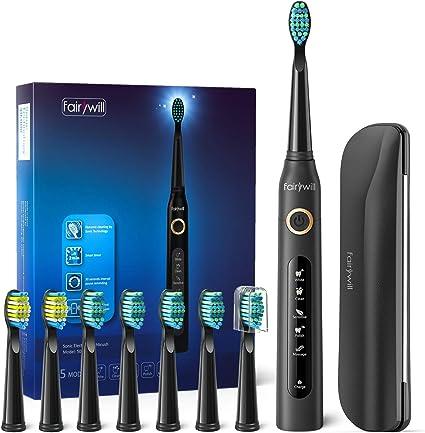 Cepillo de dientes eléctricos, 4 Horas de Recarga la Duración es de 30 Días, Cepillo de Dientes de Viaje con Bolso de Viaje y 8 Cabezas de Cepillo de Dientes Negro para Fairywill