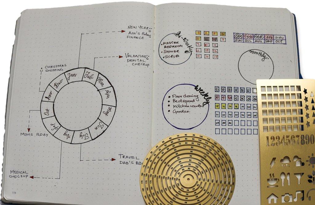 Premium Steel Metal Ruler Circle Stencil DIY Painting Letter Numbers Engraving Tool Template for Bullet Journal Adult Kids Calendar Notebook Planner Agenda Scrapbook Album Craft Supplies (Gold) by DHUNI (Image #5)