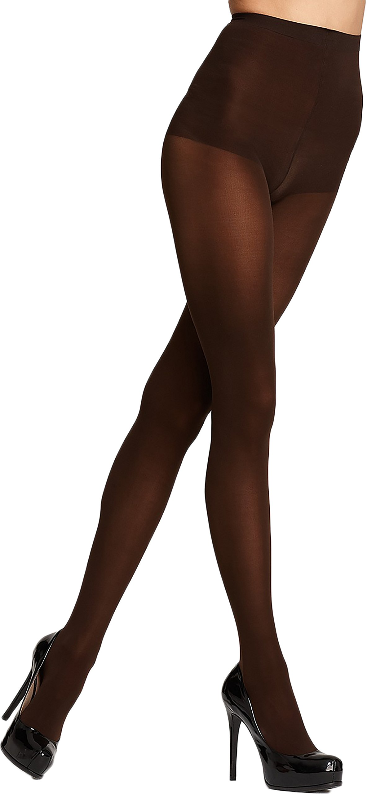 DKNY Hosiery Control Top Opaque Tights (412) Petite Plus/Chocolate Brown