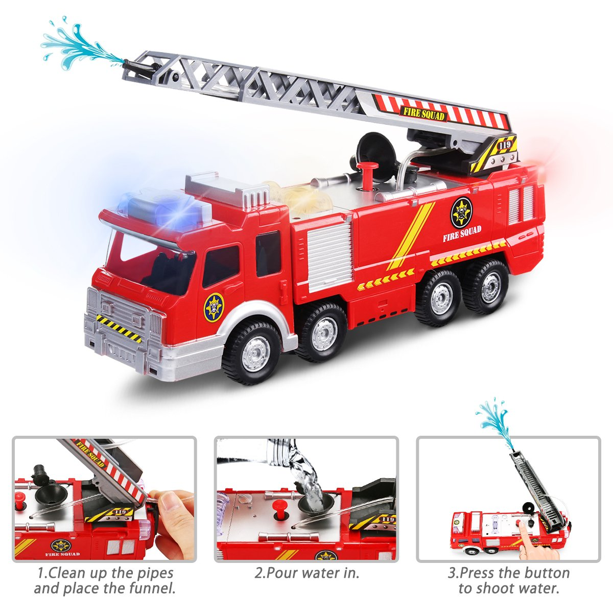 Learned Electric Fire Truck Toy Water Spray Fire Engine Car Toy With Bright Lights Kids Early Educational Vehicle Toys For Children Gift Toys & Hobbies
