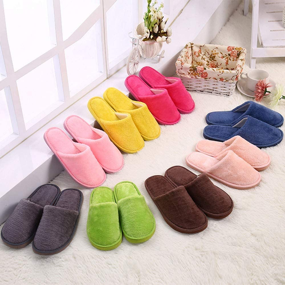 Goldweather Women Comfy Slip On Memory Foam Slippers Winter Warm Plush Soft Anti-Slip House Shoes