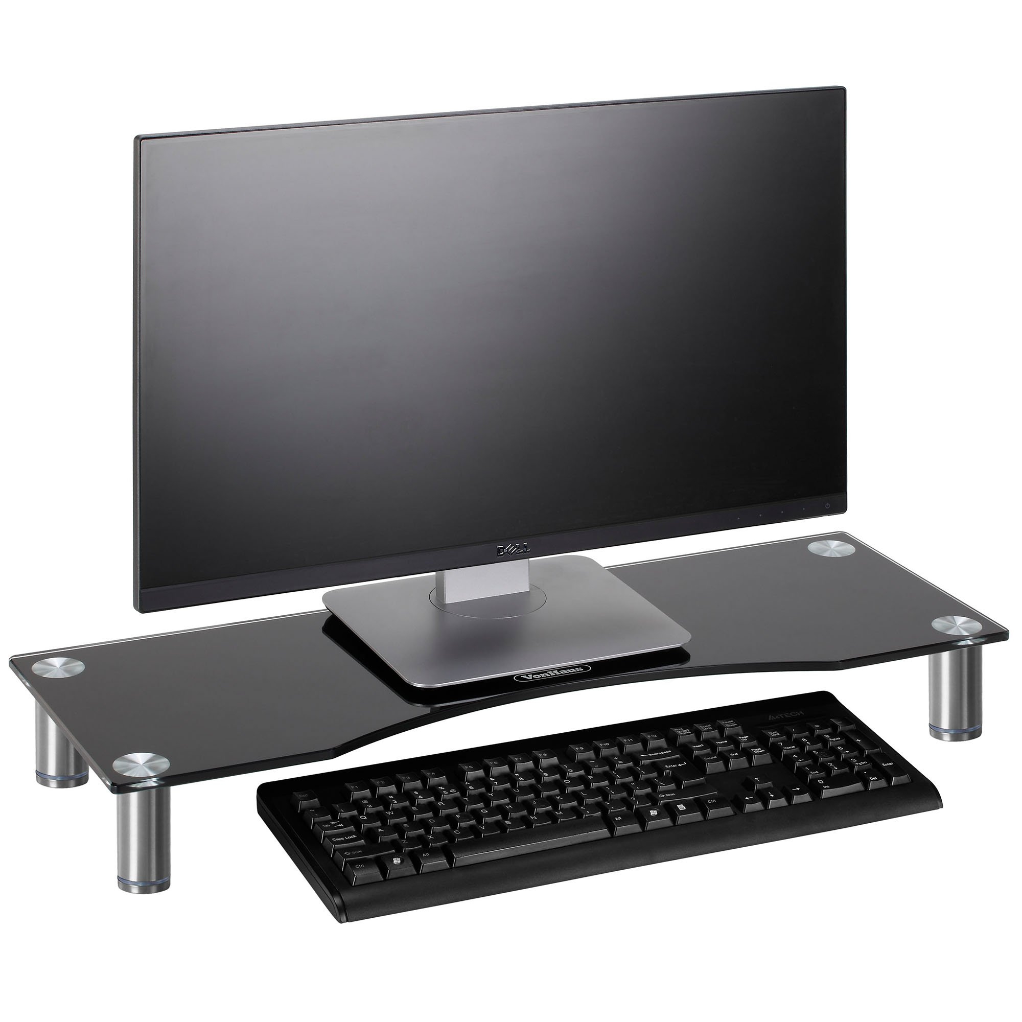 VonHaus 05/081 Large Curved Glass Monitor Stand - Adjustable Height Multiple Screen Riser for PC Monitors, Computers, Laptops & TVs - 27.5 x 9.5 inches - Black