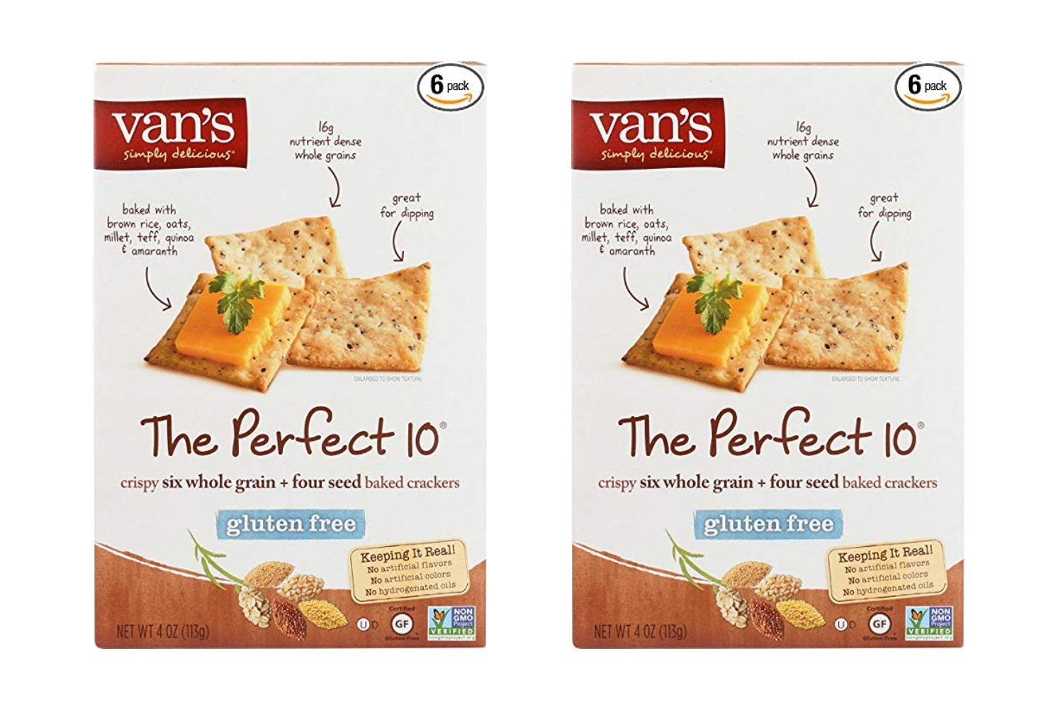 Vans Natural Foods The Perfect 10 Gluten Free Crackers, 4 Ounce - 6 Count per Pack (2 Pack)