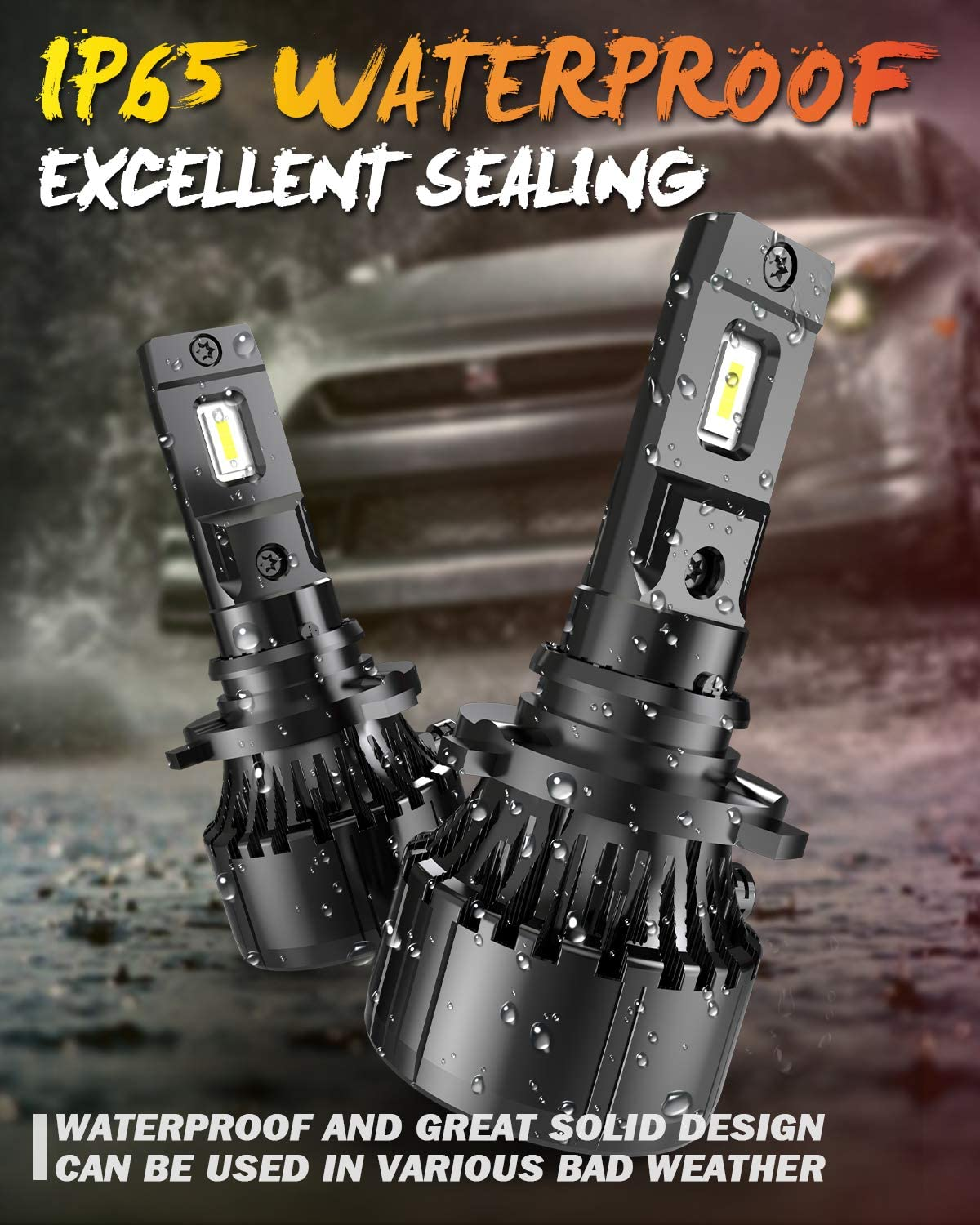 OUSHI 70W 14000 Lumen Per Pair Extremely Bright 6000K Xenon White Waterproof High Power Upgraded HB3 Headlight Bulbs Conversion Kit Replacement Bulbs 9005 LED Headlight Bulb Pack of 2