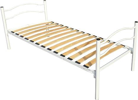 Cama individual con somier ortopédico de láminas, equipada con un cabecero y un pie de cama. Dimensiones del somier: 80 x 190 cm