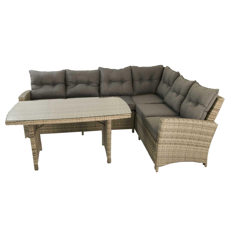 Conjunto sofás de exterior esquinero 3+2 | Aluminio y rattán ...