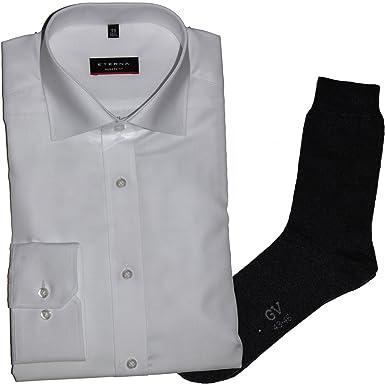ETERNA Herrenhemd Modern Fit, weiß + 1 Paar hochwertige Socken, Bundle
