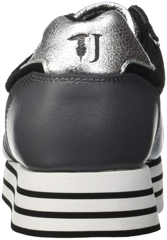 Trussardi Jeans Damen Running Heart Eyelet Gymnastikschuhe (Nero Schwarz (Nero Gymnastikschuhe (schwarz Silver) K311) 44c418