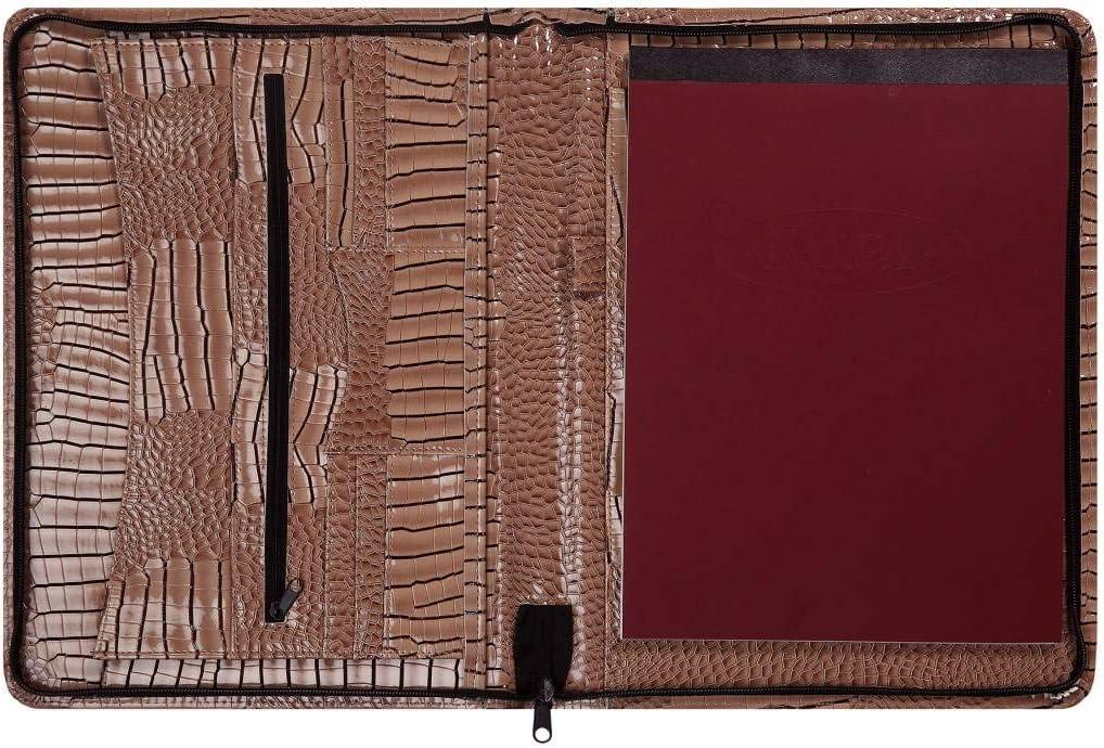 33 x 26 cm Crock Taupe Kalpa A4 Organisateur Alpstein Planificateur de cas en similicuir avec zip