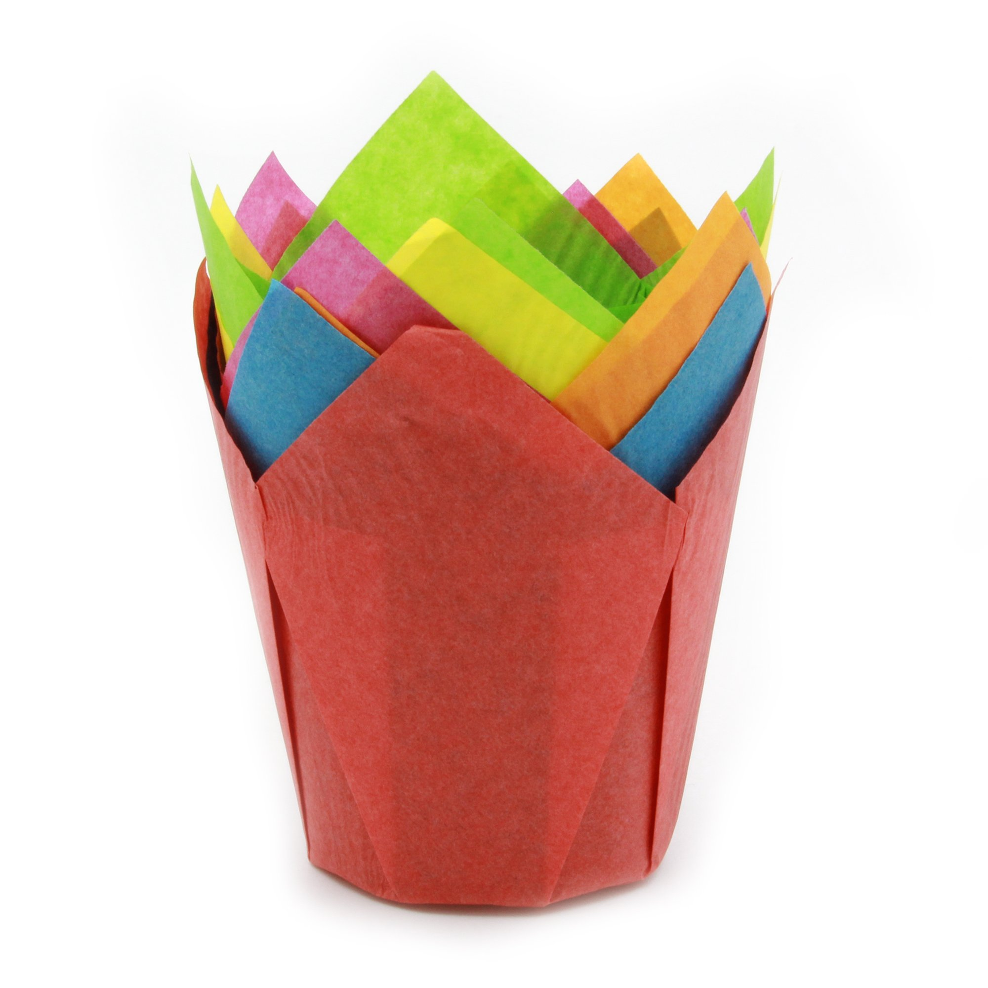 """Tulip Cupcake Liner Multi-Color Paper Baking Cups easy Release Muffin cup / No need To Spray Cup Perfect for Baking Muffins and Cupcakes, Extra Large Size: Tip H 3-1/2"""" x 2"""",(3200 pcs)"""