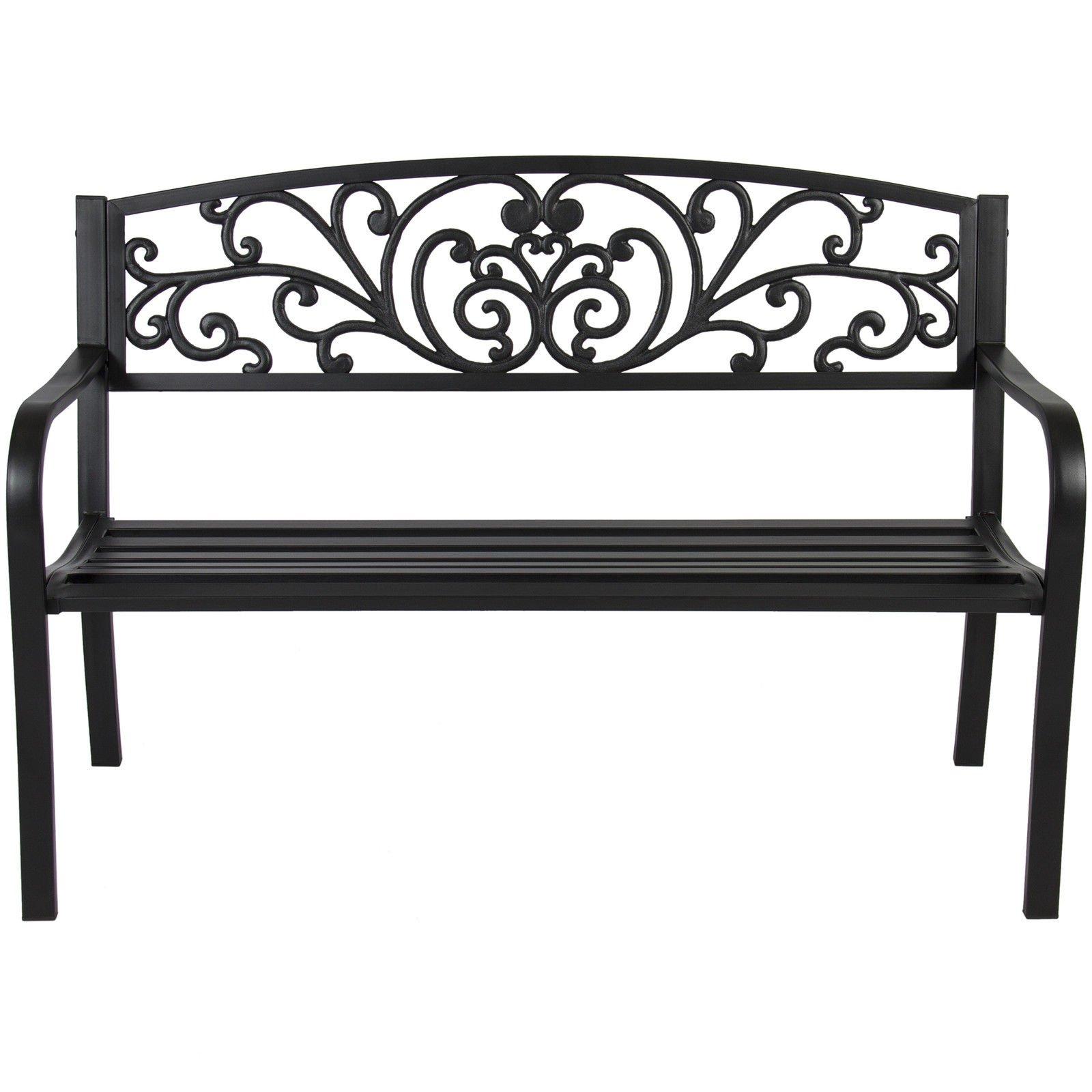 BCP 50'' Patio Garden Bench Park Yard Outdoor Furniture Steel Frame Porch Chair