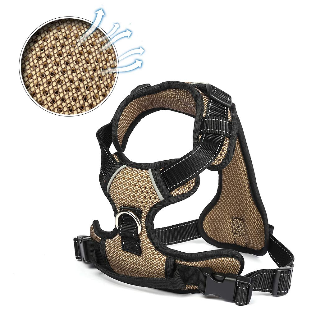 LEWAMALL Front Dog Harness Adjustable Dog Vest, Net Surface Reflective Material Straps, Breathable Harness for Dogs Easy Control for Small Medium Dogs
