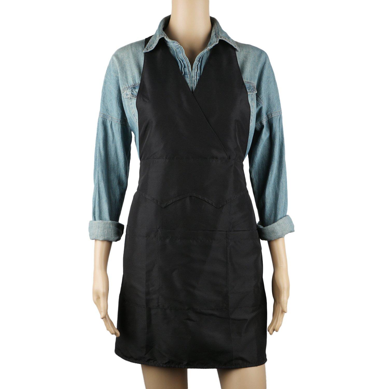 Segbeauty® 3-Bolsillo Negro Delantal de Trabajo Delantal de Camarera, Cocina del Restaurante Delantal de Cocina, Delantal Uniforme para Estilistas Pet ...