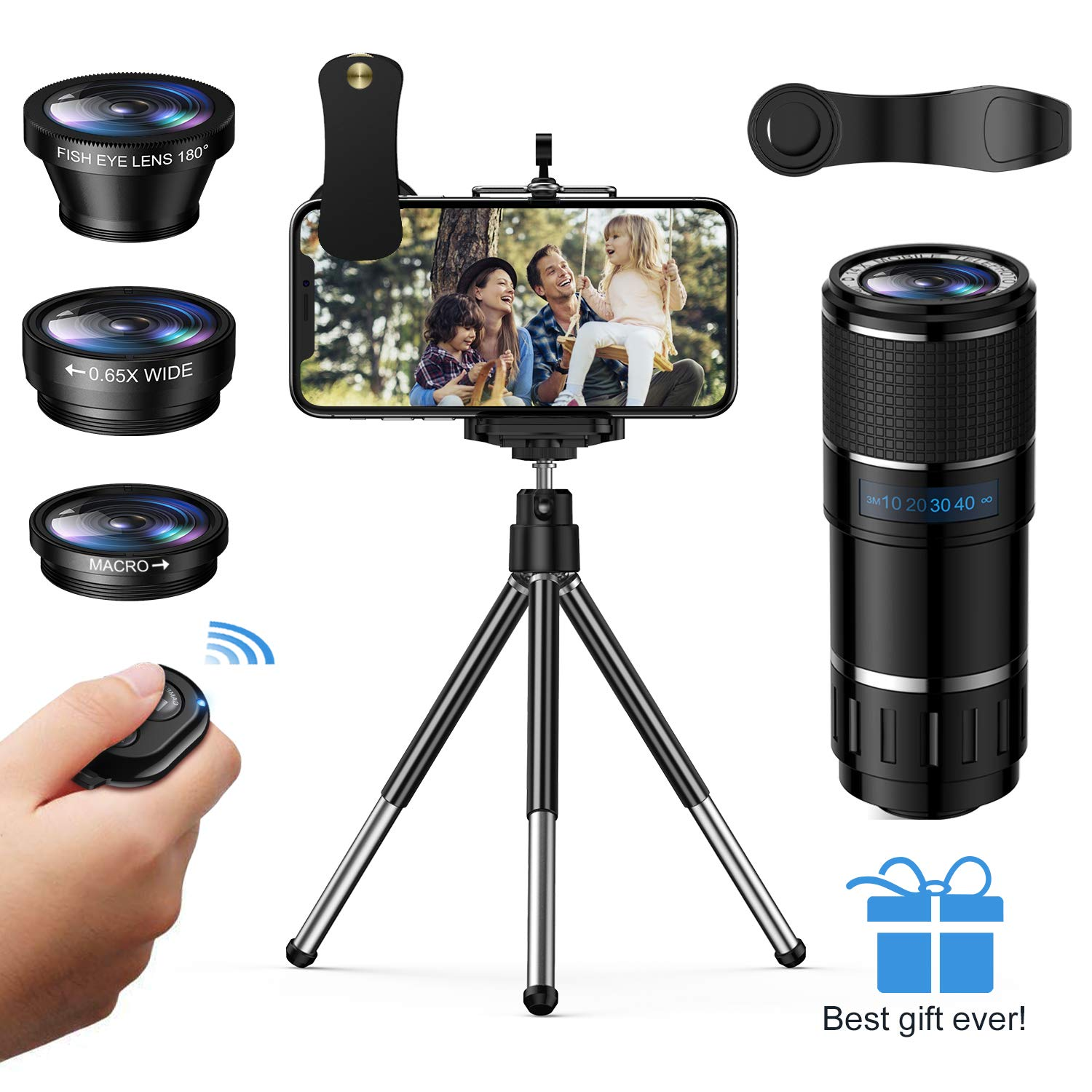 Phone Camera Lens, Vorida 6-in-1 Photography Lens Kit,14X Pro Telephoto Lens+180°Fisheye +0.65X Wide Angle &15X Macro Lens+Tripod+Remote Shutter Compatible for iPhone,Samsung & Android Smartphones by Vorida