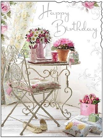 carte anniversaire femme fleurs Jonny Javelin ouvert Carte d'anniversaire pour femme – Fleurs