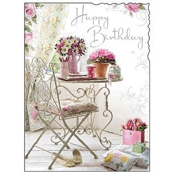 JONNY JAVELIN OPEN FEMALE BIRTHDAY CARD FLOWERS TABLE 725 x 55