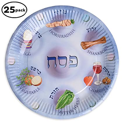 Paper plates for Passover 25 Paper Seder Plates Pesach plates for kids.  sc 1 st  Amazon.com & Amazon.com: Paper plates for Passover 25 Paper Seder Plates Pesach ...