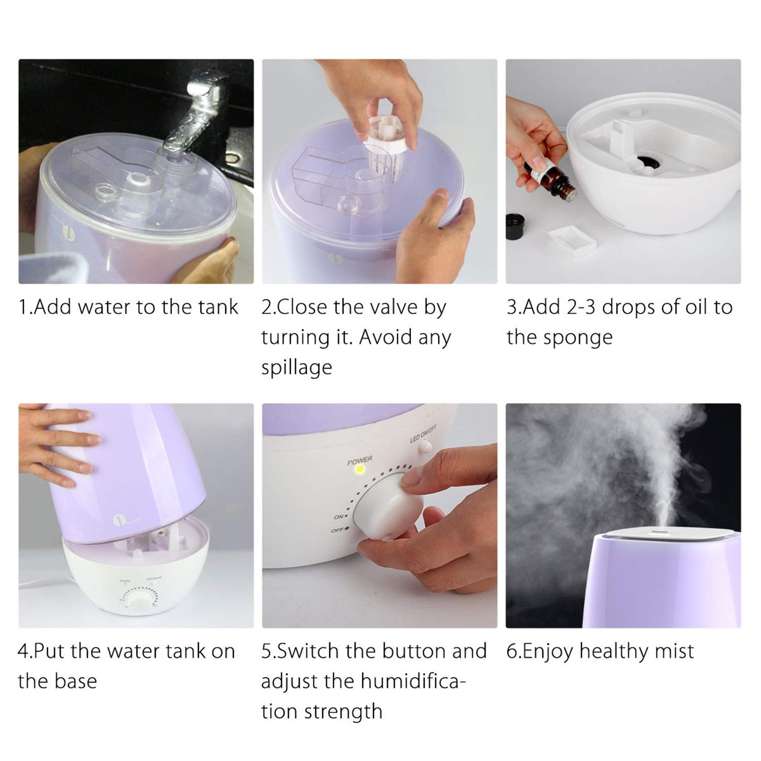 1byone 6L Humidifier Ultrasonic Cool Mist Humidifiers Home Office Essential Oil Aroma Diffuser Humidifier for Baby Bedroom Auto Shut-off 7 Colors LED Night Light 20-80 Hours Working Time