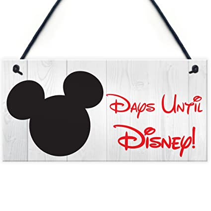 Red Ocean Countdown Days Until Disney Holiday Hanging Plaque Chalk Family Disneyland Sign