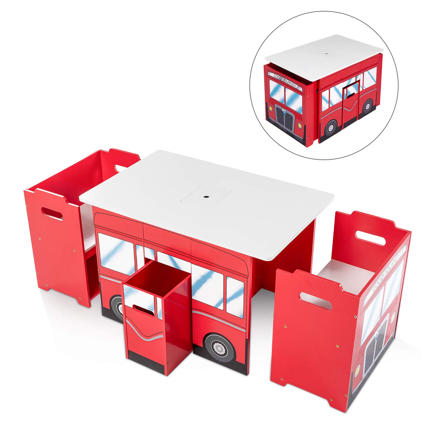 RUUF Kids Table and Chairs Set with Storage Bins, Activity Table for Toddler, Adaptable Play Table (2 Chairs Included), Red Bus Shaped Playroom Furniture by RUUF