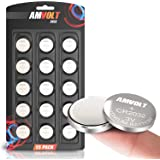 AmVolt 15 Pack CR2032 Battery [Ultra Power] 20MM - Best 3 Volt Lithium Watch Batteries - 600mAh - 3V CMOS Coin Button Cell - Fob Car Remote Key CR 2032 [Expires 2023]