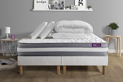 Memo Plus - Colchón (160 x 200 cm, Doble somier, 80 x 200 cm, Memoria de Forma, 3 Zonas, 2 Almohadas y edredón)