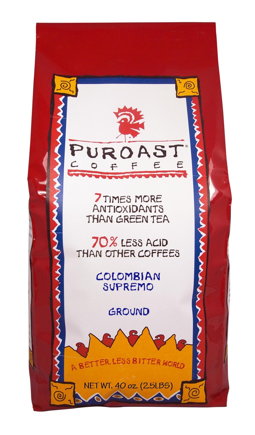 Puroast Low Acid Coffee Colombian Supremo Blend Drip Grind, 2.5-Pound Bag