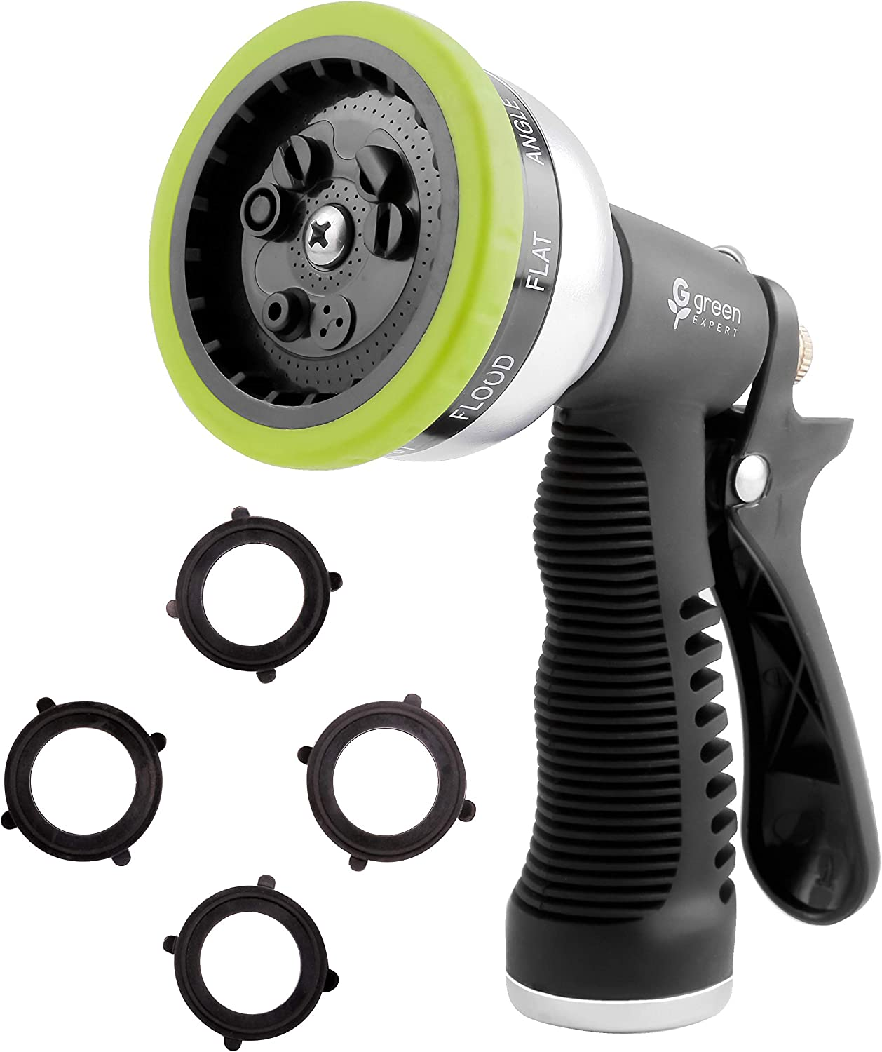 Green Expert High Pressure Garden Hose Nozzle 9 Adjustable Spray Patterns Heavy-Duty Metal Sprayer with Thermoplastic Housing for Car Wash Pets Shower Plants Watering Home Cleaning, 479903