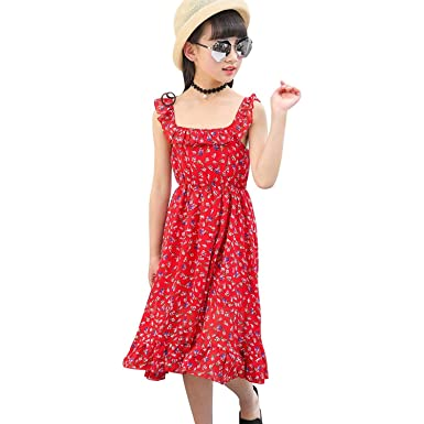 8ae0dd88d599d キャミソールワンピース 子供服 女の子 シフォン 調整可能 ノースリーブ ロング丈 小花柄 フリル 春夏